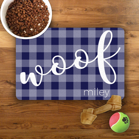 Purple Plaid Personalized Pet Placemat