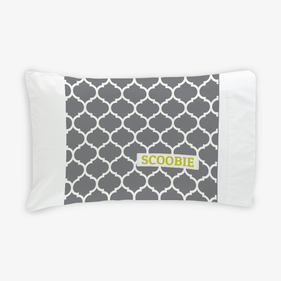 Quatrefoil Black And White Personalized Dog Pillowcase