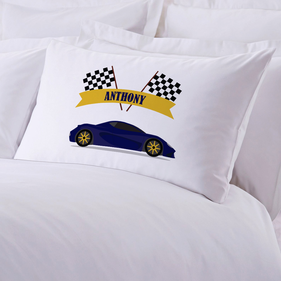 Race Car Personalized Kids Pillowcase