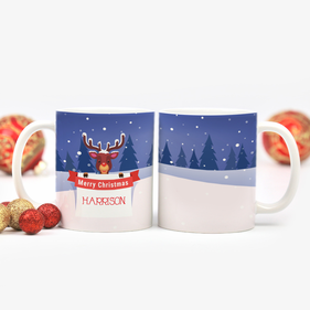 Red Nose Reindeer Personalized Ceramic Mug