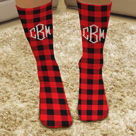 Red Plaid Personalized Christmas Tube Socks