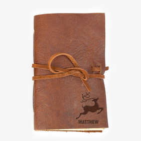 Reindeer Custom Leather-Bound Mini Journal