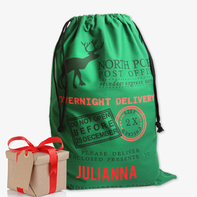 Reindeer Express Service Custom Green Christmas Sack
