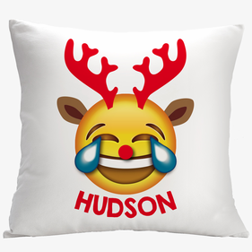 Reindeer Tears of Joy Custom Emoji Decorative Cushion Cover