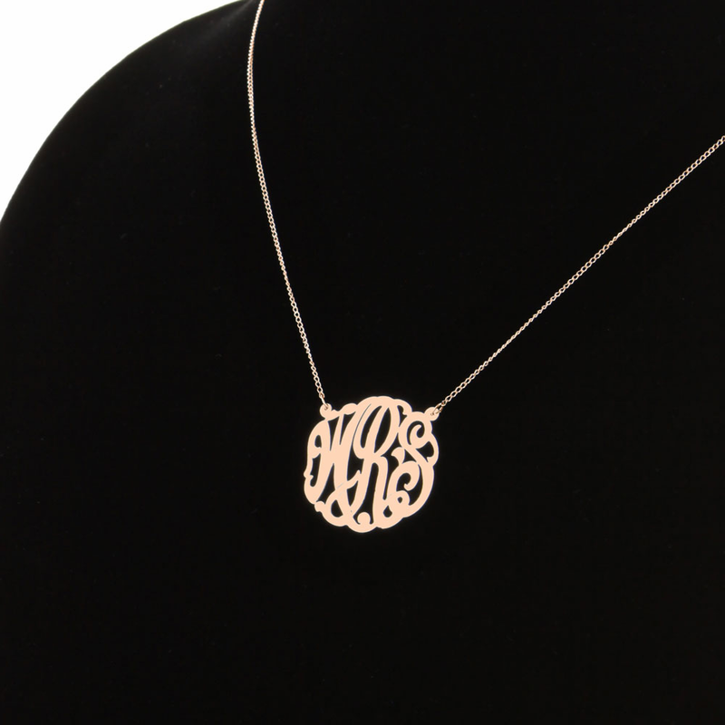 Gold over silver monogram necklace rose gold over silver monogram necklace mozeypictures Images