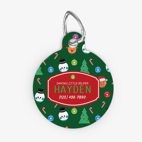 Round Custom Christmas Pet Tag