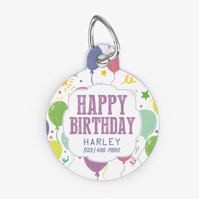 Round Happy Birthday Harley Custom Pet Tag