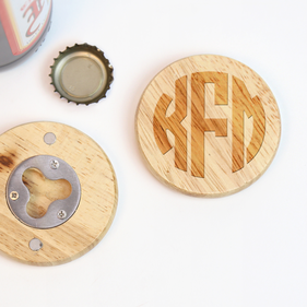 Exclusive Sale - Round Wooden Customized Magnetic Bottle Opener
