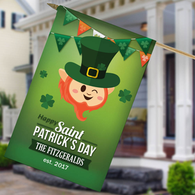 Saint Patrick's Day Personalized House Flag