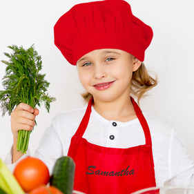 Samantha Embroidered Personalized Apron & Hat Set