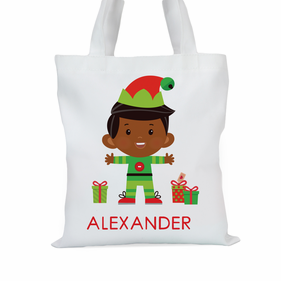 Santa's Helper Boy Elf Custom Tote Bag