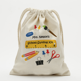 School Survival Kit Custom Drawstring Sack