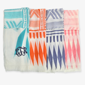 Script Monogram Aztec Print Summer Cotton Scarf