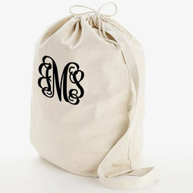 Script Monogram Heavy Canvas Laundry Bag W/Shoulder Strap