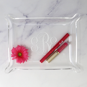 Flash Sale - Scroll Monogram Laser Engraved Acrylic Catchall Tray