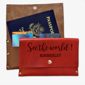 See The World Custom Genuine Leather Passport Cover Wallet