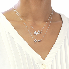 Set of 2 Script Name Necklaces in Sterling Silver