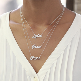 Set of 3 Script Name Necklaces in Sterling Silver