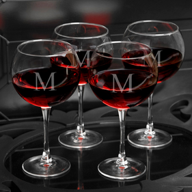 Personalized Red Wine Glasses - Set of Four