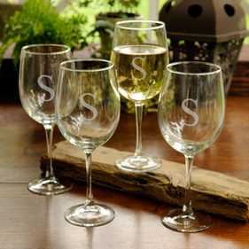 Personalized White Wine Glasses - Set of Four