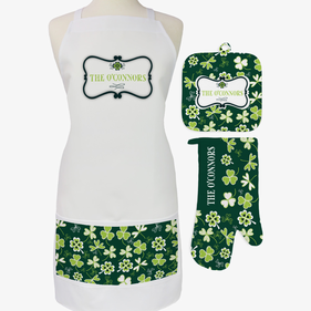Shamrock 3-Piece Custom Apron, Potholder & Oven Mitt Set