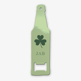 Shamrock Personalized Bottle Shaped Bottle Opener