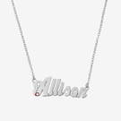 Sterling Silver Custom Name Necklace w Birthstone