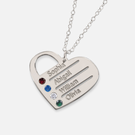 Silver Heart Family Necklace Personalized w/ Names & Swarovski Birthstones