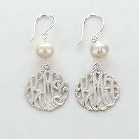 Silver Monogram Earrings with Fresh Water Pearls