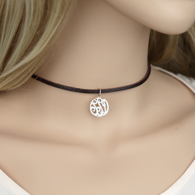 Silver Monogram Leather Choker Necklace