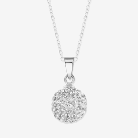 Silver Necklace With Crystal Ball