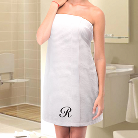Exclusive Sale - Single Initial Waffle Bath Wrap Towel