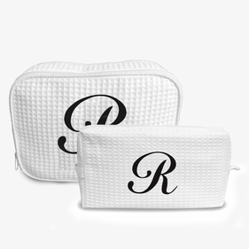 Exclusive Sale - Single Initial Waffle Makeup Bag