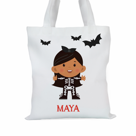 Skeleton Customized Girls Large Trick or Treat Tote Bag