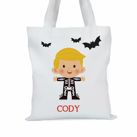 Skeleton Personalized Boys Large Trick or Treat Tote Bag