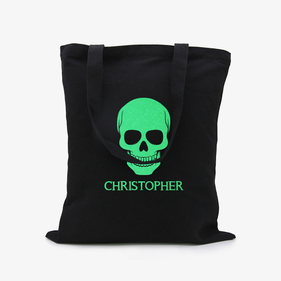 Skull Custom Black Glow In The Dark Tote Bag