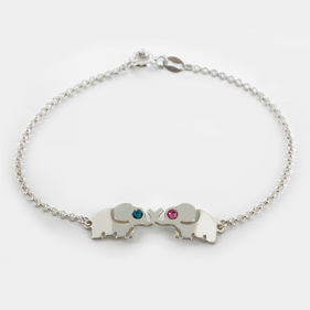 Mini Animal Shape Bracelet Personalized  w/Couple's Swarovski Birthstones