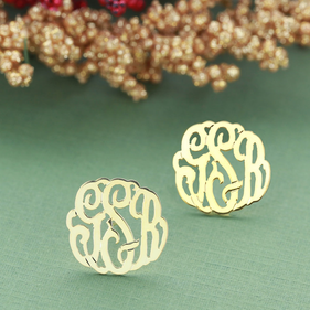 Solid Gold Monogram Stud Earrings
