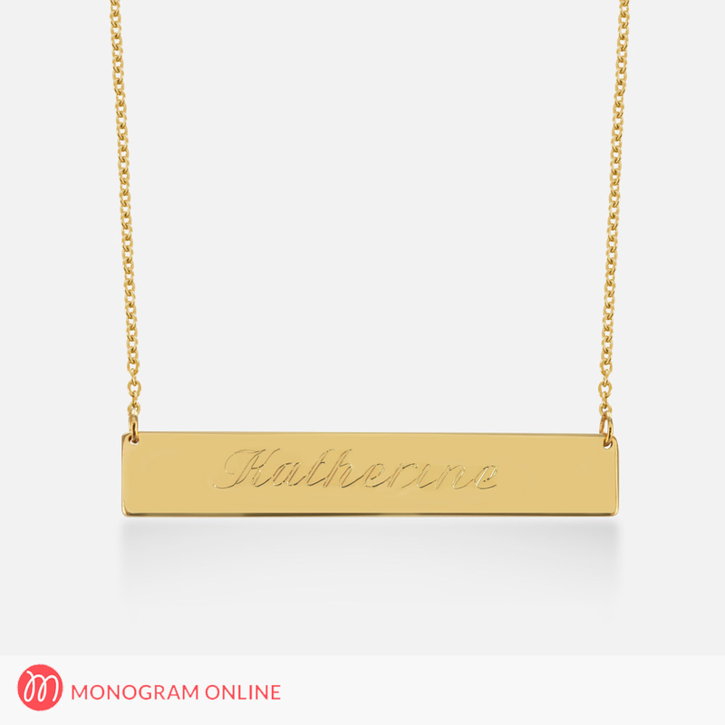 Solid gold bar necklace personalized with engraved name monogram solid gold bar necklace personalized with engraved name mozeypictures Gallery