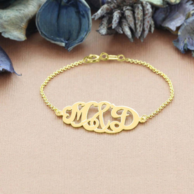 Solid Gold Oval Monogram Bracelet