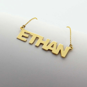 Solid Gold Personalized Name Necklace for Man