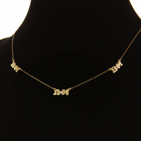 Solid Gold Personalized Six Initial Necklace w/ Diamond stones