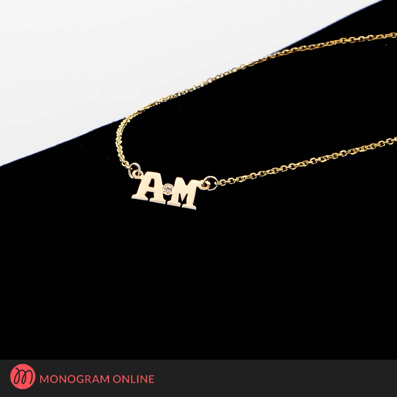 Solid gold personalized two initial necklace w diamond stone solid gold personalized two initial necklace w diamond stone mozeypictures Images