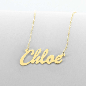 Solid Gold Script Name Necklace