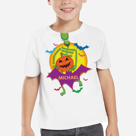 Spooky Skeleton Personalized T-Shirt for Kids