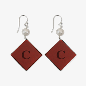 Square Drop Custom Leather Insert Silver Earrings w/ Pearl