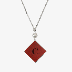 Square Drop Custom Leather Insert Silver Necklace w/ Pearl