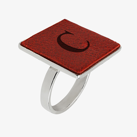 Square Shape Custom Leather Insert Silver Ring