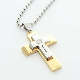 Stainless Steel Personalized Cross Necklace w/ CZ stones