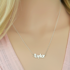 Sterling Silver Block Letter Name Necklace Taylor Style